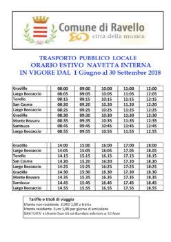 Trasporto Pubblico Urbano- Orari Estate 2018