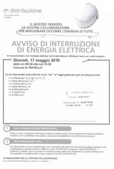 Avviso interruzione di energia elettrica – 17 maggio 2018