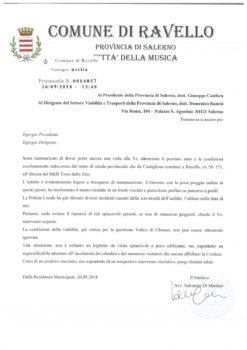 Asfalto logoro sul tratto Bivio Castiglione-Ravello, il sindaco chiede intervento della Provincia