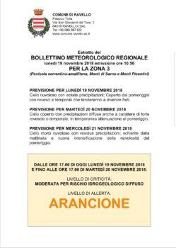 Bollettino Meteorologico del 19 novembre 2018