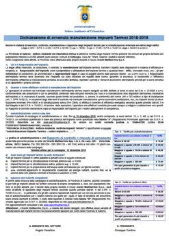 Campagna biennio 2018-2019 – Autodichiarazione di avvenuta manutenzione impianti termici