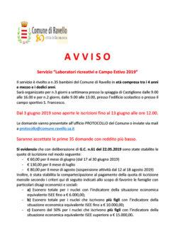 """Servizio """"Laboratori ricreativi e Campo Estivo 2019"""""""