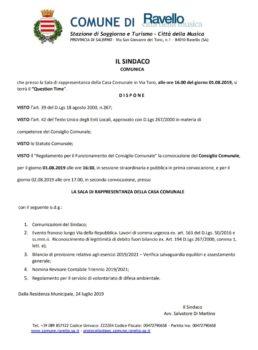 Convocazione consiglio comunale del 01 agosto 2019