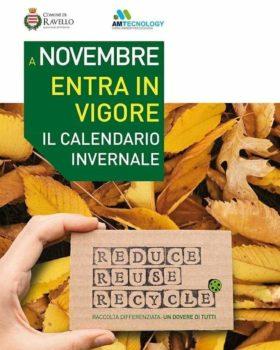 Calendario Raccolta Differenziata in vigore dal 1° novembre