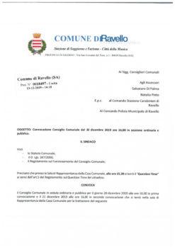 Convocazione consiglio comunale del 20 dicembre 2019