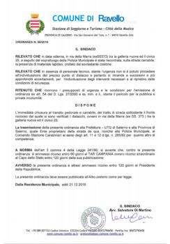 Ordinanze n° 58/2019 – 59/2019 – 60/2019 – Chiusura transito pedonale e carrabile