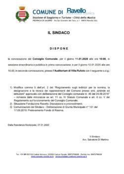 Convocazione Consiglio Comunale sabato 11 gennaio 2020 –  ore 10 – Auditorium di Villa Rufolo