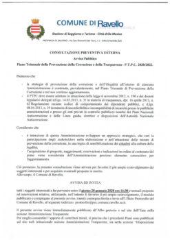 Consultazione preventiva esterna P.T.P.C. Avviso Pubblico