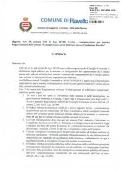 """Avviso – comunicazione per nomina Rappresentanti del Comune """"Consiglio Generale di Indirizzo presso Fondazione Ravello"""""""