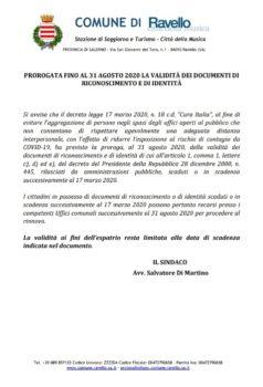 PROROGATA FINO AL 31 AGOSTO 2020 LA VALIDITÀ DEI DOCUMENTI DI RICONOSCIMENTO E DI IDENTITÀ