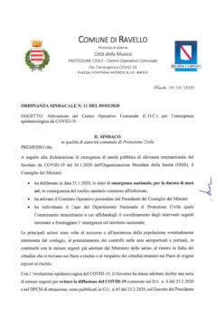 Ordinanza n° 11/2020 – Attivazione Centro Operativo Comunale