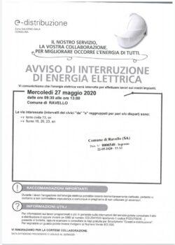 Avviso di interruzione di energia elettrica – 27 maggio 2020
