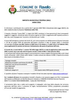 Imposta Municipale Propria (IMU) Anno 2020