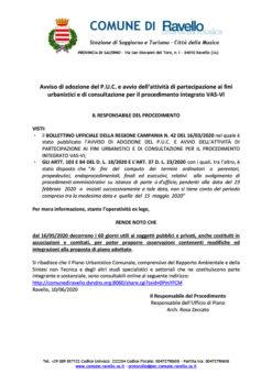 Avviso di adozione del P.U.C. e avvio dell'attività di partecipazione ai fini urbanistici e di consultazione per il procedimento integrato VAS-VI