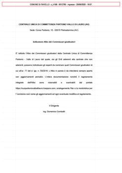 Istituzione Albo dei Commissari giudicatori della Centrale di Committenza Partenio Vallo di Lauro