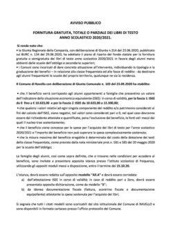 AVVISO PUBBLICO FORNITURA GRATUITA, TOTALE O PARZIALE DEI LIBRI DI TESTO ANNO SCOLASTICO 2020/2021