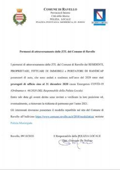 Permessi di attraversamento delle ZTL del Comune di Ravello