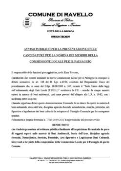 AVVISO PUBBLICO PER LA PRESENTAZIONE DELLE CANDIDATURE PER LA NOMINA DEI MEMBRI DELLA COMMISSIONE LOCALE PER IL PAESAGGIO