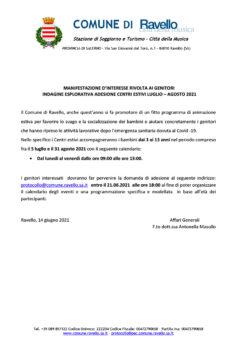 MANIFESTAZIONE D'INTERESSE RIVOLTA AI GENITORI   INDAGINE ESPLORATIVA ADESIONE CENTRI ESTIVI LUGLIO – AGOSTO 2021