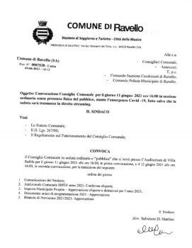 Convocazione Consiglio Comunale – venerdì 11 giugno 2021 – ore 16 – Auditorium di Villa Rufolo